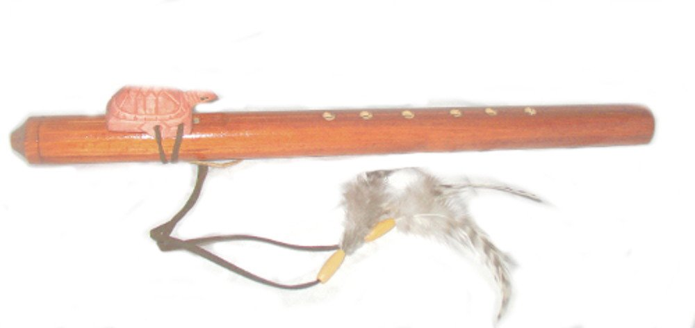 Hand Crafted Wood Flute Native American Style with Feathers Carved Turtle Long 18 Roger Enterprises Flute-turtle