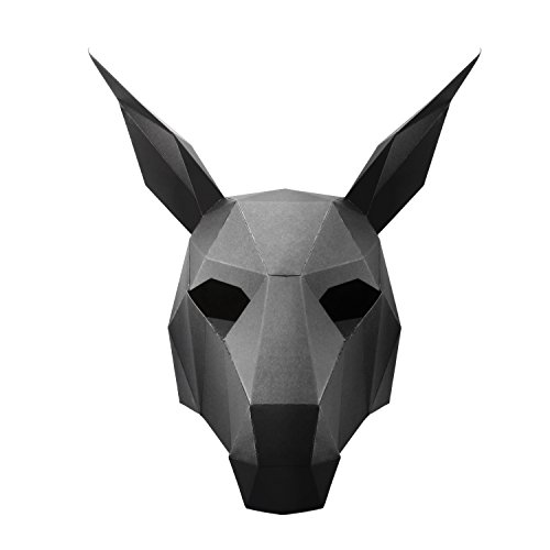 3D Paper Mask Animal Head Molds DIY for Halloween Party Costume Cosplay Black Horse - FUNLAVIE