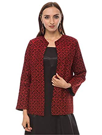 Hannah Embroidery Red Polyester Basic Jacket For Women