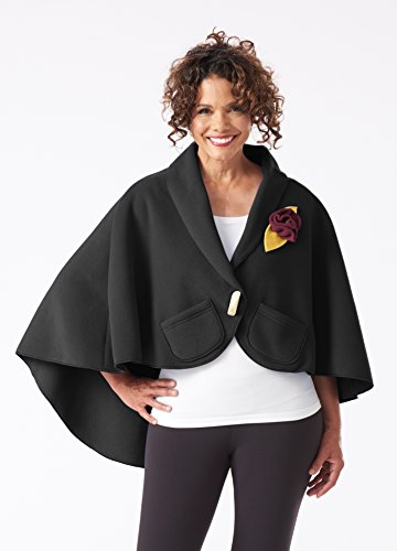 Women's Fleece Lap Wrap With Large Button and Small Tissue Pockets - Elegant, Warm and Cozy Shawl - One Size Fits All (Black)