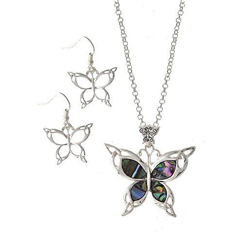Celtic Knot Abalone Butterfly Necklace and Drop Earring Set