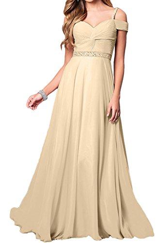 Ballkleid Elegant Abendkleider Festkleid Damen Champagner Lang Chiffon Partykleider Linie A Ivydressing A5Zqpw