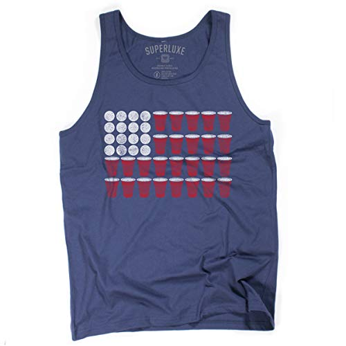 Superluxe Clothing Mens/Womens/Unisex 4th of July Beer Pong Funny American Flag Party Tank Top, Navy, X-Small