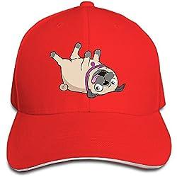 Macevoy Puppy Pug Bulldog Cartoon Casual Unisex Unstructured Cotton Cap Adjustable Baseball Hat Cap