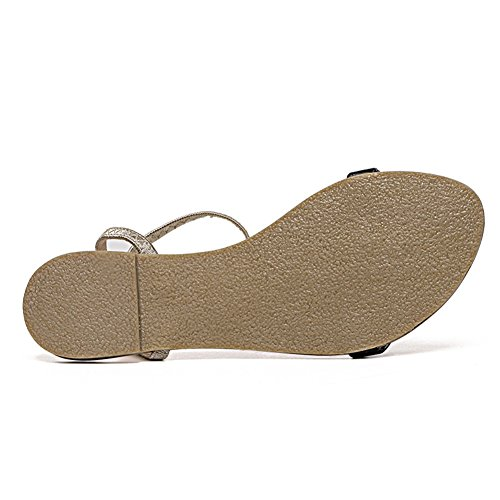 LXZ Nouveau Style Boucle Dames Sandales Mode Simple Plat Chaussures Sauvages Bout Rond Confortable B hcje2Xg2