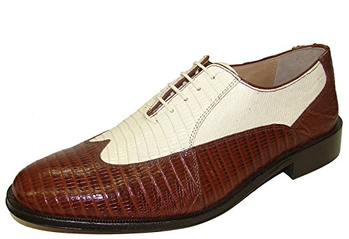Bone Tip Wing - Giorgio Brutini 21007 Mens Bal Wing Tip Lizard Prt Oxford Shoes,Mid Brn/Bone,12W