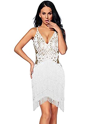 NeeMee Womens Sequin Tassels Party Sexy Spaghetti Strap Sleeveless Evening Club Dress
