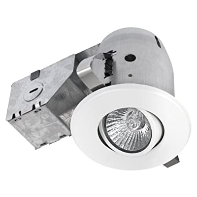 """3"""" Dimmable Downlight Swivel Spotlight Recessed Lighting Kit, IC Rated with LED Bulb, Easy Install Push-N-Click Clips, Globe Electric 90679"""