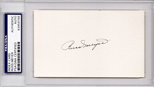 Russ Meyer Autographed Signed Brooklyn Dodgers 3x5 inch Index Card - 1955 World Series Champion - Deceased 1997 - PSA/DNA Authenticity (COA) - PSA Slabbed ()