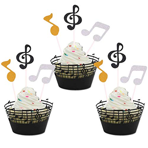 Music Notes Cupcake Topper and Wrappers Music Notes Decorations Party Supplies for Birthday Cake Decorating Tools for Baby Showers Party ()