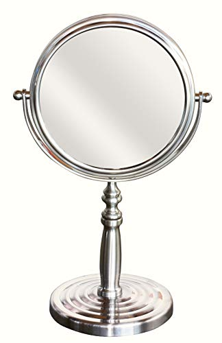 DecoBros 6-Inch Tabletop Two-Sided Swivel Vanity Mirror with 8x Magnification, -