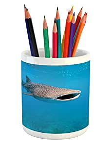 Shark Pencil Pen Holder by Ambesonne, Giant Whale Shark and Underwater Photographer in Wildlife Diving Image, Printed Ceramic Pencil Pen Holder for Desk Office Accessory, Violet Blue Pale Grey