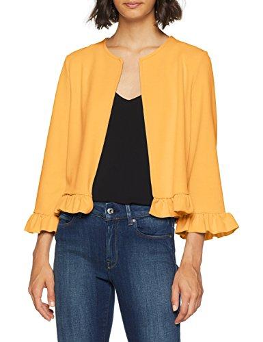New dark Para Mujer 87 Yellow Look Frill Hem Amarillo Chaqueta 7wq7rI0