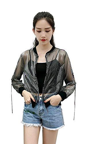 (Tynora Women Transparent Long Sleeve Sheer Mesh Sun-Protective Jacket Outerwear Coat Tops(Black&Silver L))