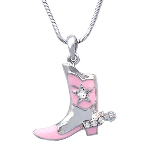 cocojewelry Western Cowboy Cowgirl Boot Star Spur Pendant Necklace (Silver-tone Pink) by cocojewelry