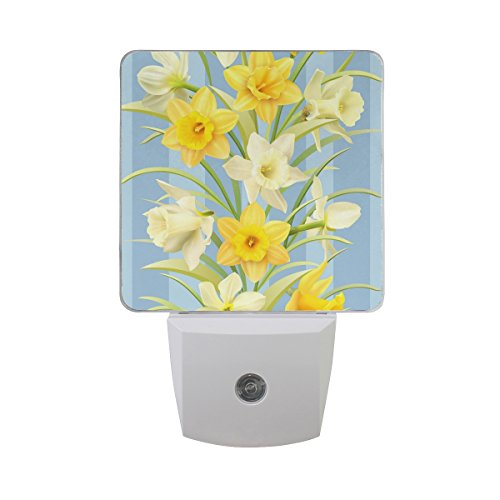 Naanle Set of 2 Yellow Daffodil Flowers Pattern Spring Floral Design On Blue Stripes Auto Sensor LED Dusk to Dawn Night Light Plug in Indoor for Adults