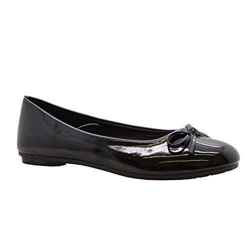 SAUTE STYLES Girls Ladies Women Flat Slip On School Loafers Ballerina Office Pumps Shoes Size 3-8 Black Pu Bow KvW39dtbY8