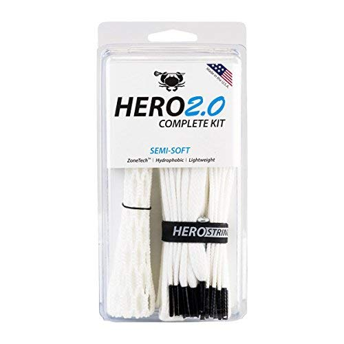 ECD Lacrosse East Coast Dyes Hero2.0 Complete Kit Semi-Soft Lacrosse Mesh White (Best Lacrosse Game Ever)