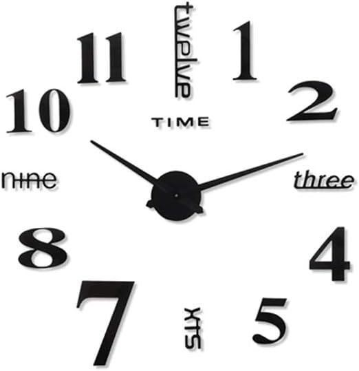 Cocina Reloj pared Reloj de pared grande, relojes de pared sin marco digitales modernos de bricolaje 3D, números pegatinas 3D Relojes decorativos de interior for decoración del hogar Oficina de regalo: Amazon .es: