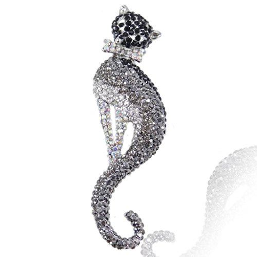 EVER FAITH Women's Austrian Crystal Graceful Kitten Pet Cat with Bowknot Brooch Black Silver-Tone