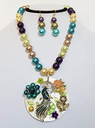 - Vintage Peacock Pendant Flowers Mother of Pearl Beads Necklace Earrings One of a Kind