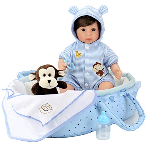 Aori Reborn Baby Doll 18 inch Lifelike Baby Boy Doll with Monkey Gift Sets-8-Piece with a Baby Carrier/Bassinet (Monkey Baby Doll)