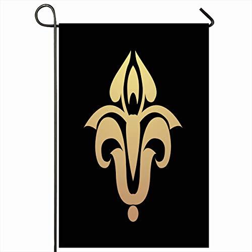 Fleur De Lys Emblem - Ahawoso Outdoor Garden Flag 12x18 Inches Old France Pink Black Heraldic Lily Vintage Emblem Fleur LYS Floral Flower French Gold Heraldry Design Seasonal Double Sides House Yard Sign