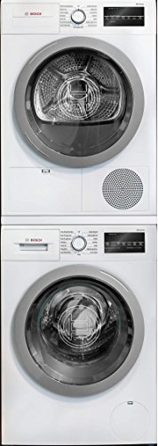 Bosch 500 Series White Front Load Compact Stacked Laundry Pair with WAT28401UC 24' Washer, WTG86401UC 24' Electric Condensation Dryer and WTZ20410 Stacking Kit