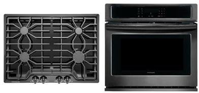 Frigidaire 2-Piece Kitchen Package with FFGC3026SB 30″ Gas Cooktop, and FFEW3026TD 30″ Electric Single Wall Oven in Black Stainless Steel