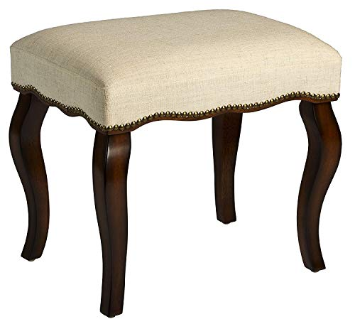 (DK Furniture Hamilton Backless Vanity Stool Burnished Oak with Cream Fabric )