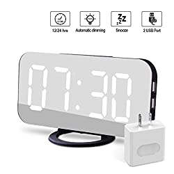 Modern Alarm Clock with USB Charger Ports Digital Mirror Alarm Clock Best Decorative for Table Bedroom Wall LED Time Clock Unique Square Alarm Clocks Plug in Clock with Charging Plug