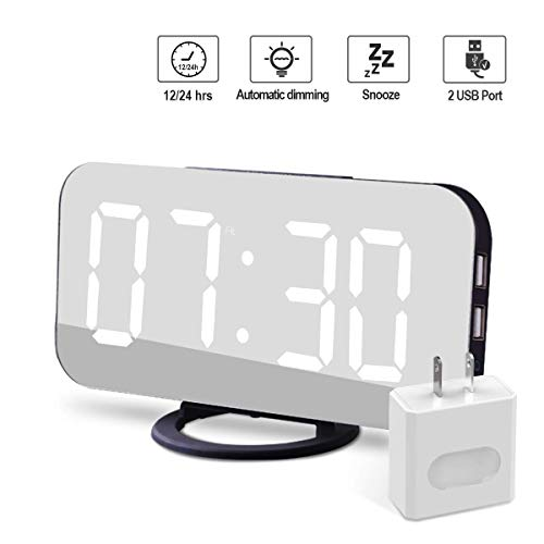 - Modern Alarm Clock with USB Charger Port, Digital Mirror Clock Best Decorative Time Clock for The Wall, Table, Desk.Unique Design Black Square Alarm Clock + Charging Plug