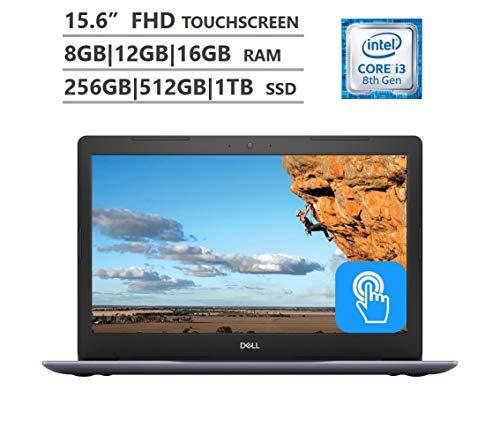 "Dell Inspiron 5000 15.6"" Full HD Touchscreen Laptop, Intel Core i3-8130U up to 3.40GHz, 8GB|12GB|16GB RAM, 256GB|512GB|1TB SSD, Backlit Keyboard, Wireless-AC, Bluetooth, Windows 10, Blue|Black"