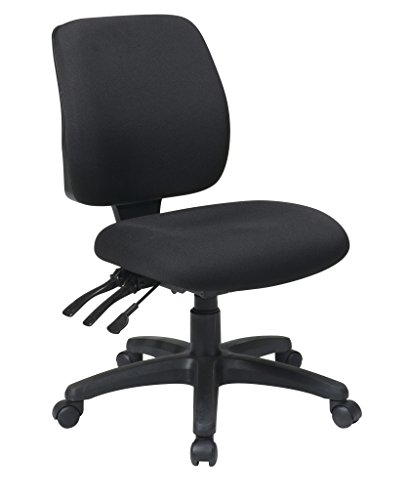 Office Star Mid Back Dual Function Ergonomic Chair with Ratchet Back Height Adjustment without Arms, Black (Fabric Back Adjustment Height)