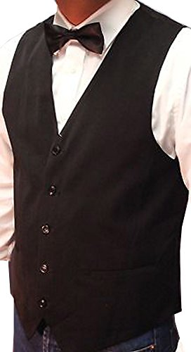 Men's Plain Black Waistcoat with FREE Bow Tie Weddings/Balls/Parties And For Any Other Events S to 4XL (XL, Black) (Coat Waiter)