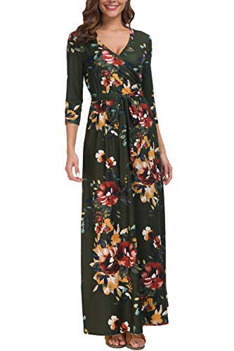 Kranda Womens Floral Print Dress 3/4 Sleeve Faux Wrap Long Maxi Dress with Belt,Olive Green M ()