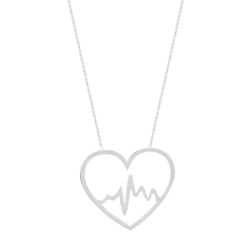 Sterling Silver East2West Heartbeat in a Heart Adjustable Necklace