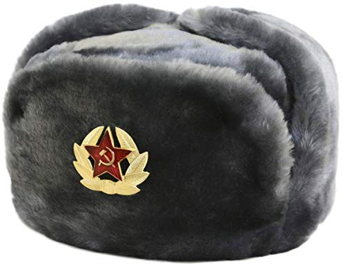 (Russian Soviet Army Fur Military Cossack Ushanka Hat with Soviet Soldier Insignia)