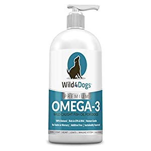 Premium Omega 3 Fish Oil for Dogs – Promotes Healthy Coat, Skin, Heart, and Eases Joint Pain – Omega 3 for Dogs is All-Natural, Nutrient Rich, Wild Caught – Dog Fish Oil Supplement, 16 fl oz