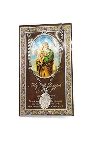 (50 8/20_ Saint Joseph Genuine Pewter Medal with Stainless Chain & Prayer Card W Copyrighted Paul Herbert Blessing PATRONA Series ()