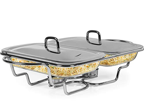 Galashield Chafing Dish Food Warmer Stainless Steel with 2 Glass Dishes Buffet Server Warming Tray with Ladle (1.5-Quart Each ()