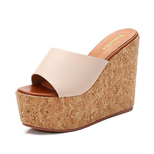 Lambskin Leather Platforms (Womens Wedge Platform Sandals Peep Toe Thick Bottom Slip-Resistant PU Leather Rubber Sole Summer Walking Shoes Beige)