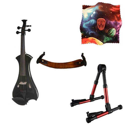 Meisel Electric Violin Pack Black w/Red Stand, Tuner & Alien Rosin