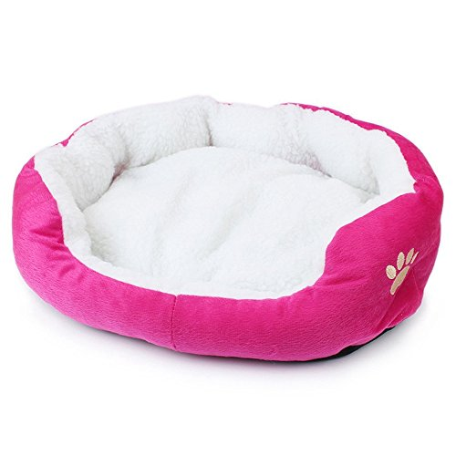 Fleece Nest Dog Bed - Mintbon Pet Dog Warm Bed Puppy Cat Soft Fleece House Plush Cozy Nest Mat Pad (Rose red)