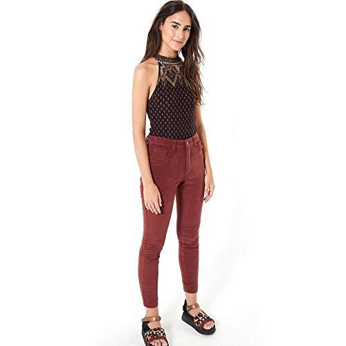 Calca Skinny Veludo Color Vermelho Goiabada - 36