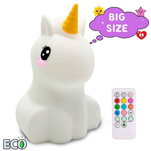 ATOMFIT LED Nursery Night Lights for Kids: Cute Animal Silicone Baby Night Light with Touch Sensor and Remote - Portable and Rechargeable Infant or Toddler Cool Color Changing Bright (Unicorn)