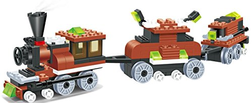 Steam Wagon (Limited edition Train 169pcs building blocks steam 2 windows cabin engine locomotive railway train set comes with 2 extra load wagon bogies - a must gift for all 6+ children, compatible parts)