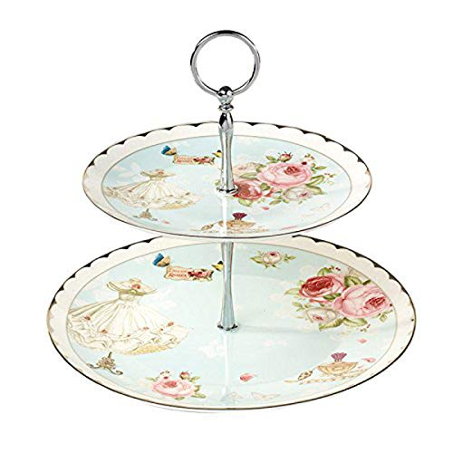 YBK Tech Euro Style 2 Tier Porcelain Bone China Round Cake Plate Stand Dessert Display Cakes Platter Food Rack- Pink Rose and Dress (Blue)