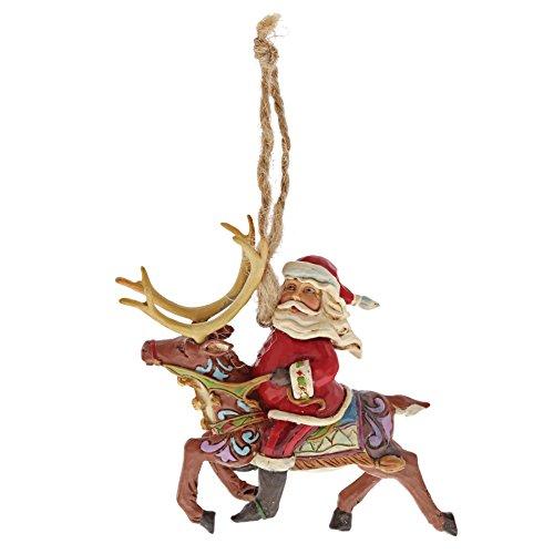 Enesco Jim Shore Heartwood Creek Santa Riding Reindeer Stone Resin, 4' Hanging Ornament, 4