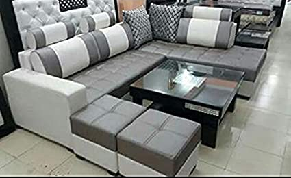 Quality Assure Furniture Maharajah P L Shape Sofa Set With Center Table And 2 Puffy Standard Size Cream And Grey